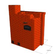 Банная печь №2 с прямым нагревом камней и открытым камином.