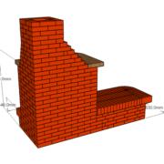 Камин угловой с излучением на 2 стороны с дровником. Предназначен для помещения площадью 26 – 30 м2. Кирпич красный 610 шт. ШБ- 8 95 шт
