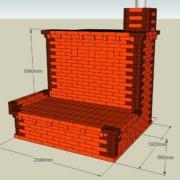 Каминопечь с лежанкой. Рассчитана на отопление дома до 80 м2. Теплоотдача печи до 6,3 кВт.