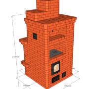 Отопительно-варочная печь с открытым камином. Теплоотдача печи до 3,7 кВт. Подойдёт для отопления дома до 50 м2