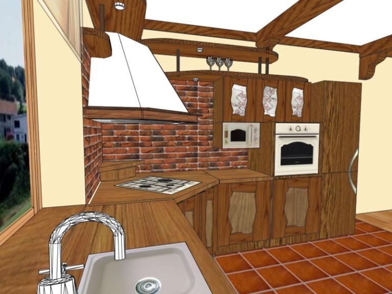 проект кухни под старину