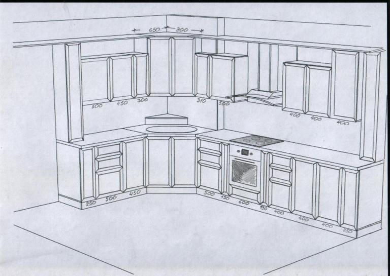 Кухня совмещенная с гостиной эскиз