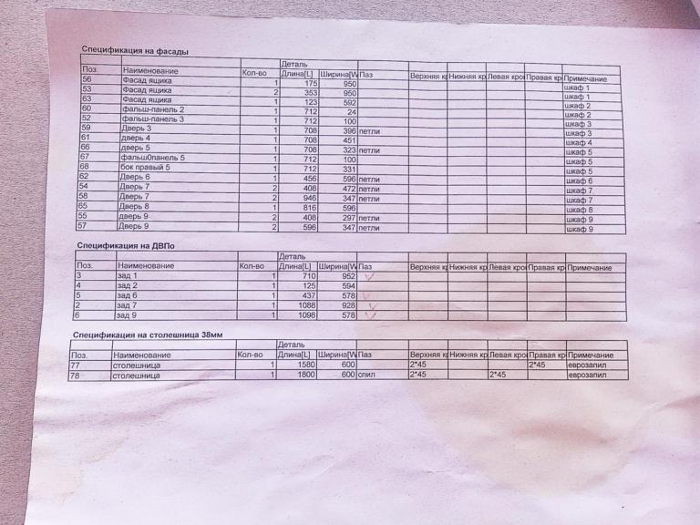 Спецификация на распил ЛДСП